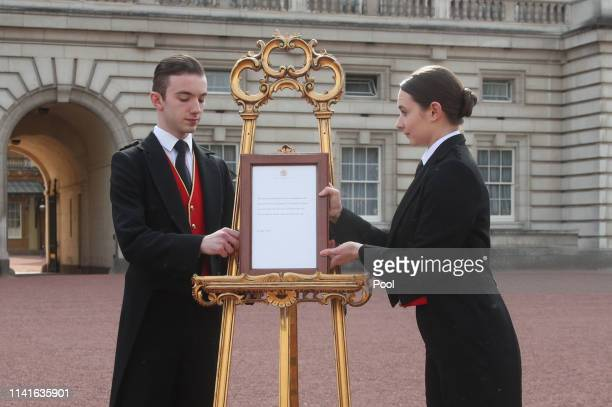 The official notice of the birth of a baby boy to the Duke and Duchess of Sussex on display outside Buckingham Palace on May 6, 2019 in London,...