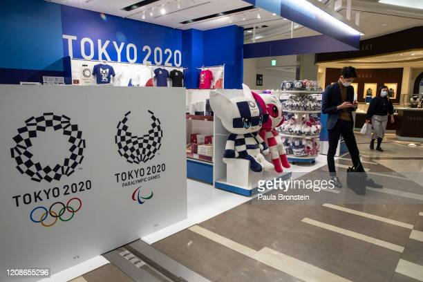 The official Olympic Tokyo 2020 souvenir shop at Narita International Airport on March 26, 2020 in Tokyo, Japan. The Olympics have been postponed...