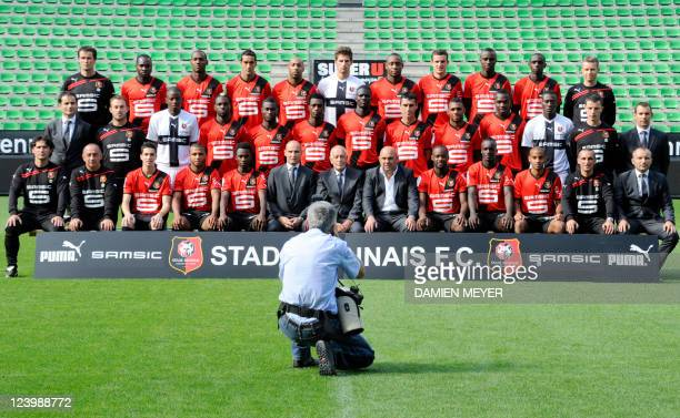 The official picture taken on September 7 2011 at the Route de Lorient stadium in Rennes western France shows the Rennes' L1 football team's players...