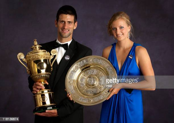 The Official Portrait of Wimbledon winners Novak Djokovic of Serbia and Petra Kvitova of the Czech Republic at The Wimbledon Champions' Dinner 2011,...