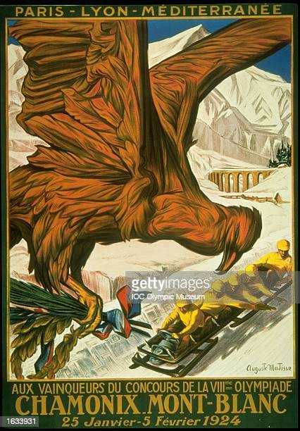 The official poster for the 1924 Winter Olympic games held in Chamonix France The poster is in the IOC Olympic Museum in Lausanne Switzerland...