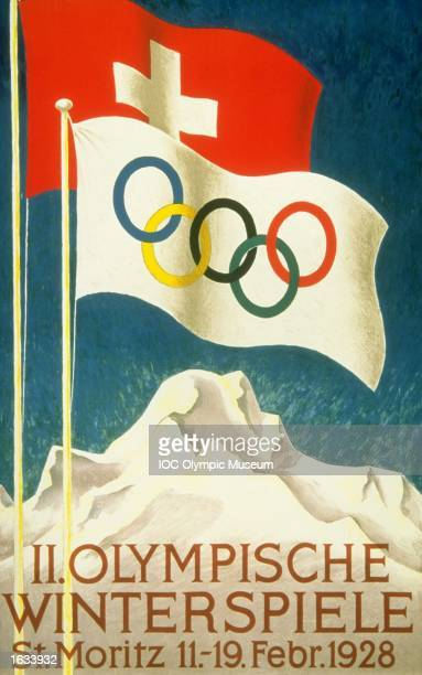 The official poster for the 1928 Winter Olympic games held in St Moritz Switzerland The poster is in the IOC Olympic Museum in Lausanne Switzerland...