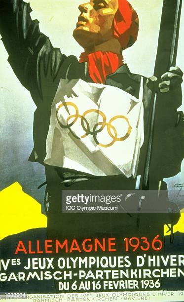 The official poster for the 1936 Winter Olympic games held in Garmisch-Partenkirchen, Germany. The poster is in the IOC, Olympic Museum in Lausanne, Switzerland. \ Mandatory Credit: IOC, Olympic Museum /Allsport