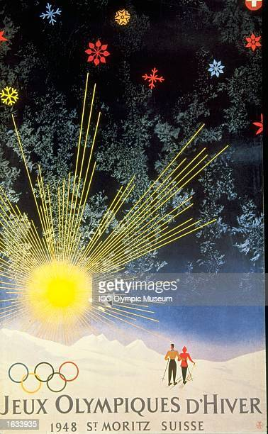 The official poster for the 1948 Winter Olympic games held in St Moritz Switzerland The poster is in the IOC Olympic Museum in Lausanne Switzerland...