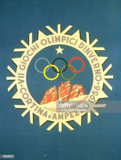 The official poster for the 1956 Winter Olympic games held in Cortina D''Ampezzo Italy The poster is in the IOC Olympic Museum in Lausanne...