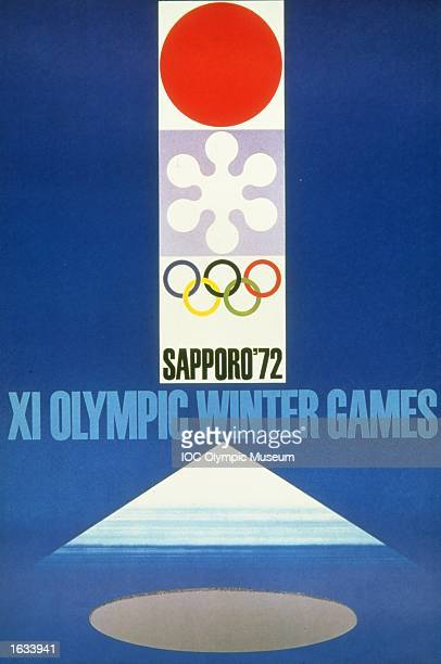 The official poster for the 1972 Winter Olympic games held in Sapporo Japan The poster is in the IOC Olympic Museum in Lausanne Switzerland Mandatory...