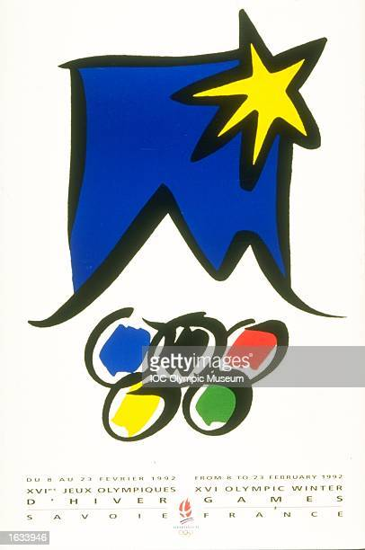 The official poster for the 1992 Winter Olympic games held in Albertville France the poster is in the IOC Olympic Museum in Lausanne Switzerland...