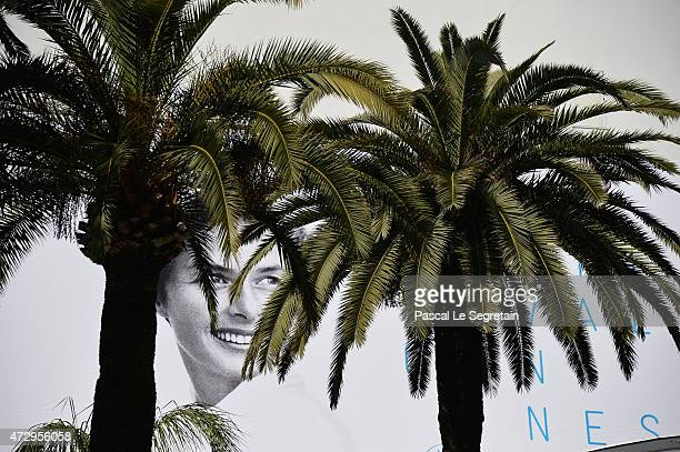 The official poster of the 68th Cannes Film Festival is seen on the facade of the Palais des Festivals behind palm trees on May 11 2015 in Cannes...