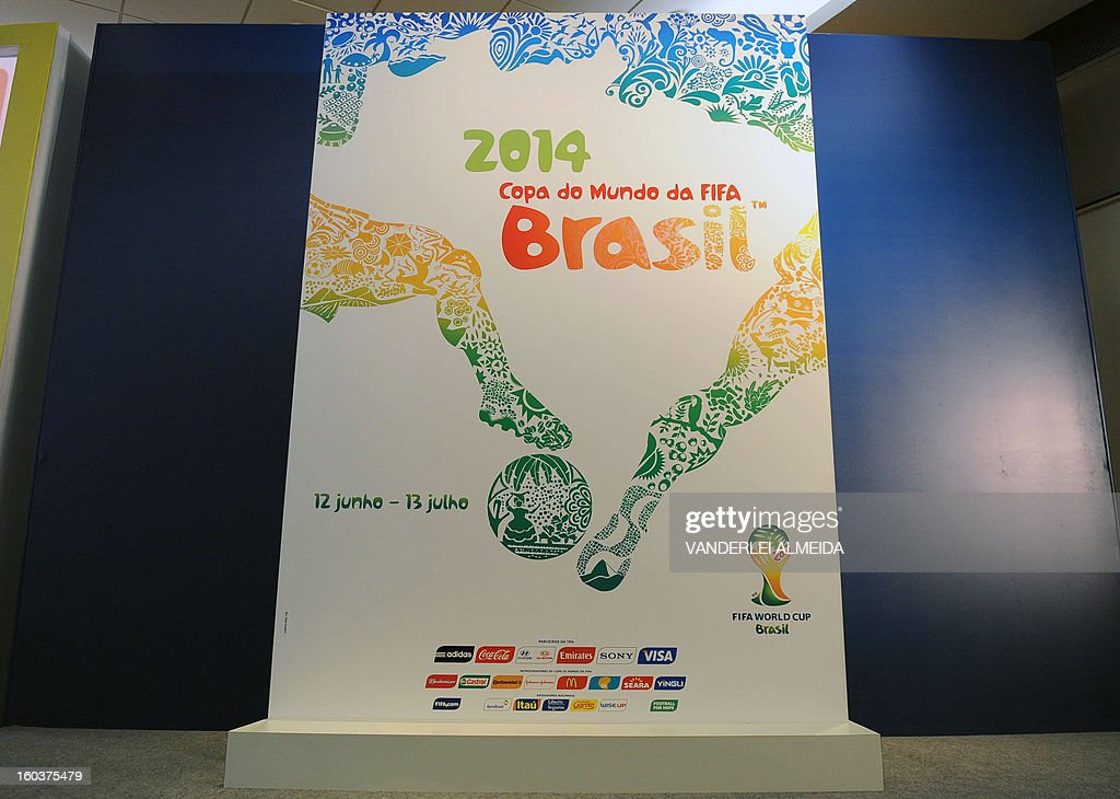 The official poster of the FIFA WC Brazil 2014 presented in Rio de Janeiro, Brazil, on January 30, 2013.