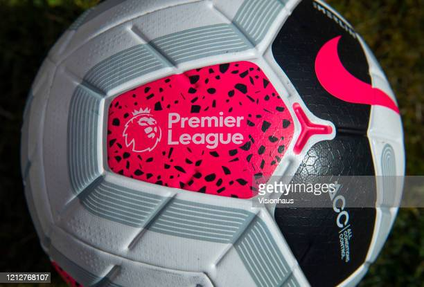 The Official Premier League Match Ball by Nike on March 16, 2020 in Manchester, England.