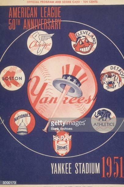 The official program and scorecard of the New York Yankees on which the team logo is encircled by other American League team logos at the 50th...
