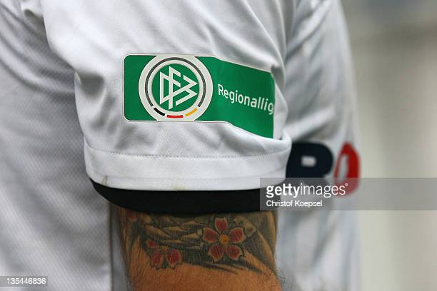 The official Regionalliga logo is seen on a jersey during the Regionalliga West match between Sportfreunde Lotte and Eintracht Trier at connectMArena...