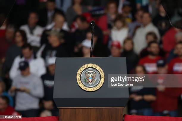 The official Seal of the President of the United States plaque is seen affixed to the podium that President Donald Trump will speak from during at a...
