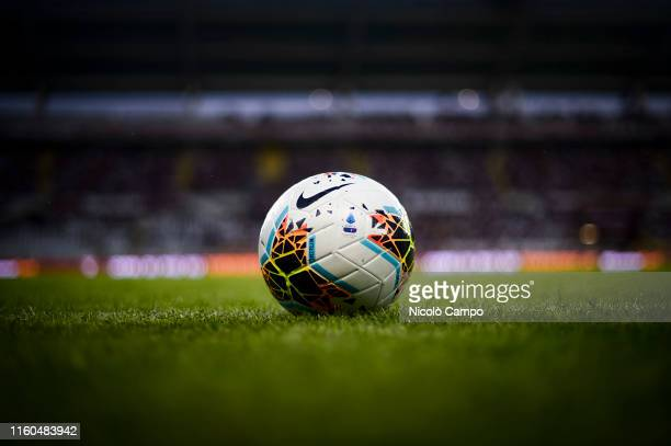 The official Serie A 2019-2020 match ball Nike Merlin is pictured prior to the UEFA Europa League third qualifying round football match between...