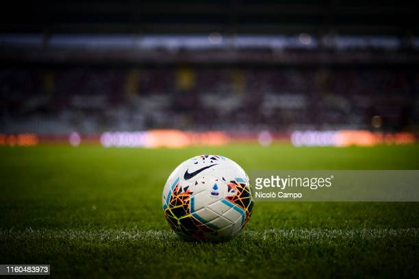 The official Serie A 20192020 match ball Nike Merlin is pictured prior to the UEFA Europa League third qualifying round football match between Torino...
