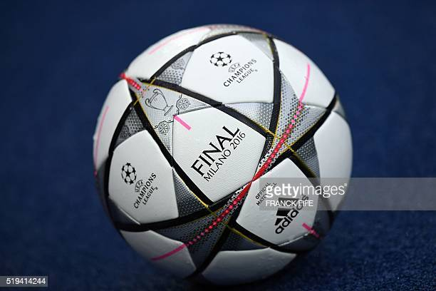 The official soccer ball of the Champions League on which is written 'Final Milano 2016' is pictured prior to the UEFA Champions League quarter final...