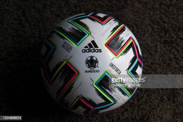 The official soccer ball Uniforia of the UEFA EURO 2020 is presented during a press conference in Munich, southern Germany, on March 3 100 days ahead...