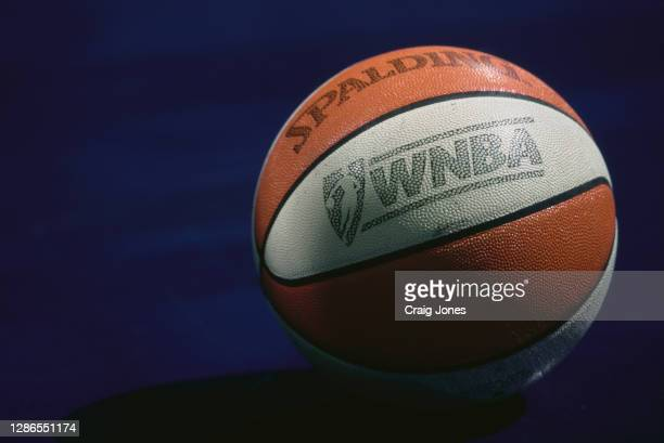 The official Spalding basketball used for the WNBA Western Conference basketball game between the Los Angeles Sparks and the Charlotte Sting on 21st...
