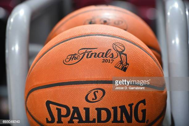 The official Spalding NBA Finals Ball during practice and media availability as part of the 2017 NBA Finals on June 06 2017 at Quicken Loans Arena in...