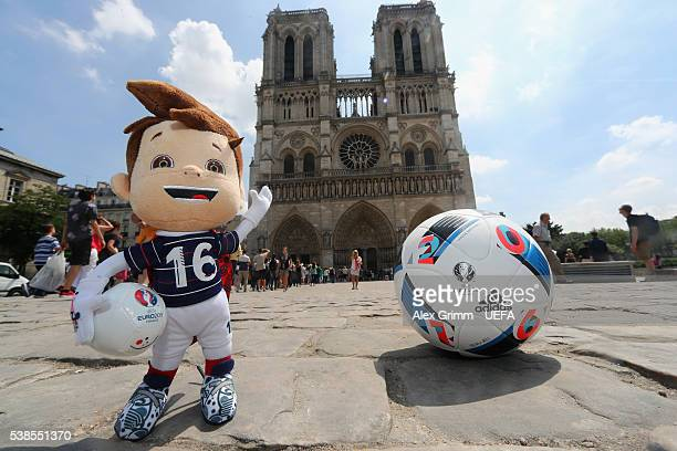 The official toy mascot Super Victor is seen in front of Notre Dame cathedral ahead of the UEFA Euro 2016 on June 7 2016 in Paris France