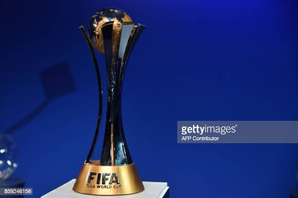 The official trophy is seen on display during the official draw of the FIFA Club World Cup UAE 2017 football tournament in Abu Dhabi on October 9,...