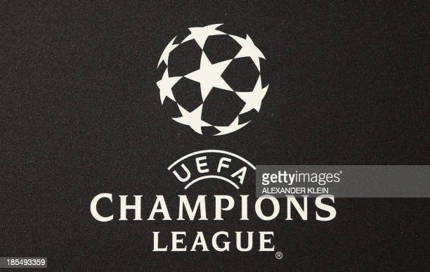The official UEFA Champions League logo is seen during a press conference of Austrian football club Austria Wien ahead of a training session in...