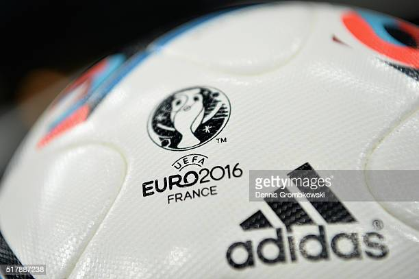 The official UEFA Euro 2016 match ball prior to kickoff during the International Friendly match between Ukraine and Wales at NSK Olimpijskyj on March...