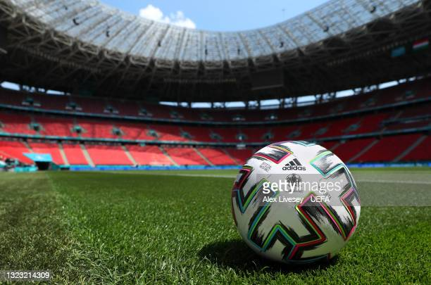 The official UEFA Euro 2020 ball is seen inside the Puskas Arena ahead of the UEFA Euro 2020 Championship on June 12, 2021 in Budapest, Hungary.