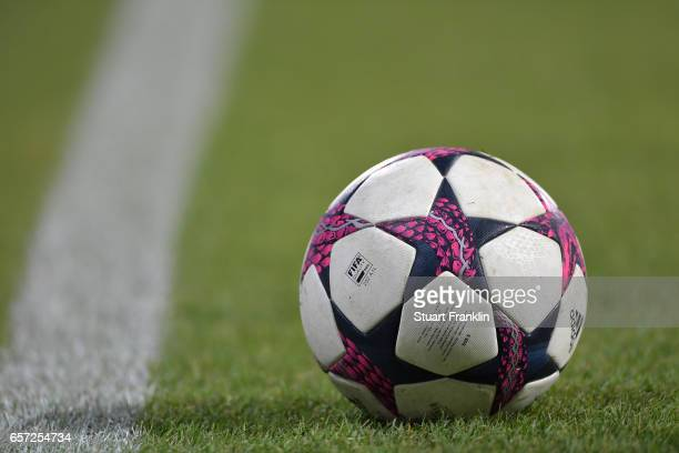 The official UEFA Women's Champions League match ball during the UEFA Women's Champions League Quater Final first leg match between VfL Wolfsburg and...