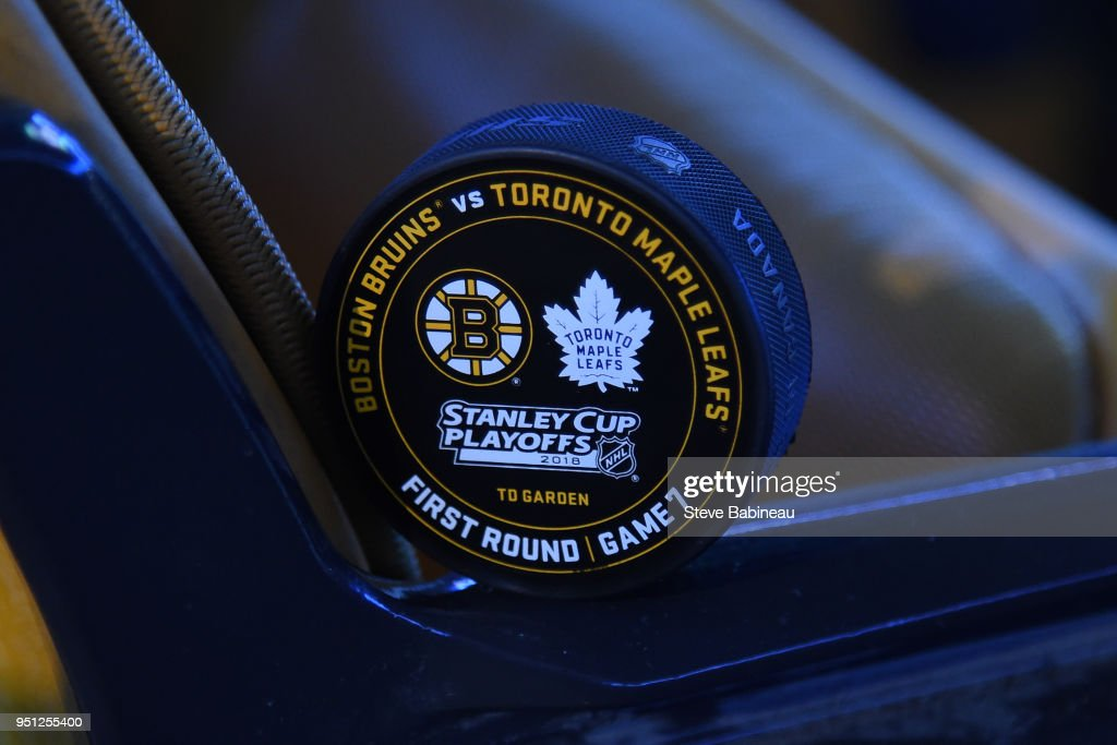 The official warm up puck of the Boston Bruins against the Toronto Maple Leafs in Game Seven of the Eastern Conference First Round in the 2018 Stanley Cup Playoffs at the TD Garden on April 25, 2018 in Boston, Massachusetts.
