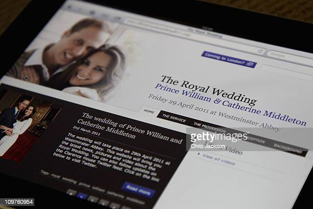 The official website for the wedding of Prince William and Kate Middleton recently launched by Clarence House is displayed on an iPad on March 4,...
