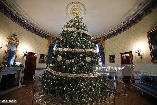 The official White House Christmas Tree sits in the Blue Room of the White House November 29 2016 in Washington DC 'The Gift of the Holidays' is the...