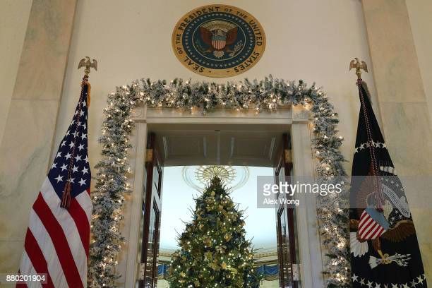 The official White House Christmas tree stands in the Blue Room at the White House during a press preview of the 2017 holiday decorations November 27...