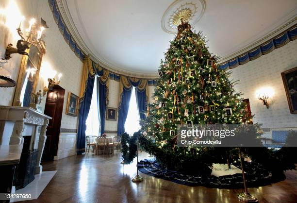 The official White House Christmas tree the centerpiece of the Blue Room is on display during the first viewing of the 2011 White House Christmas...