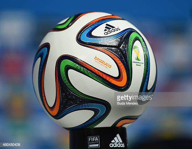 The official World Cup match ball the 'Brazuca' is displayed during a Brazil press conference ahead of the 2014 FIFA World Cup Brazil opening match...