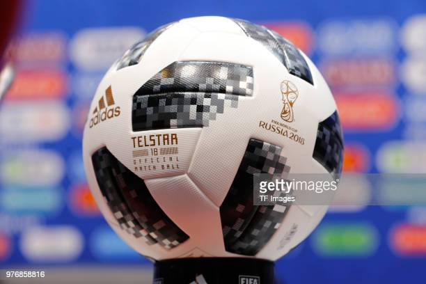 The Official World Cup Telstar ball is seen prior to a training session at Fisht Stadium on June 14 2018 in Sochi Russia