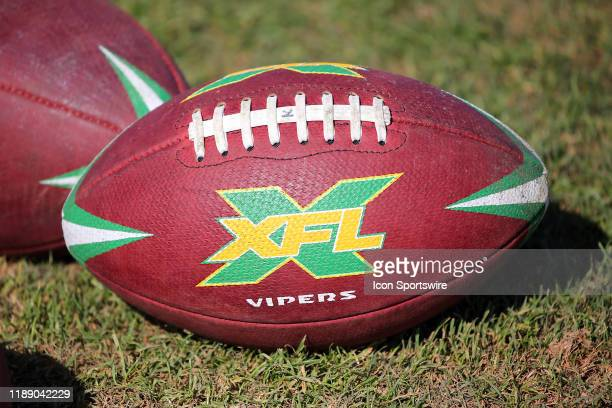 The official XFL game ball for the Tampa Bay Vipers during the XFL's Vipers Minicamp on December 16 2019 at Plant City Stadium in Plant CityFL