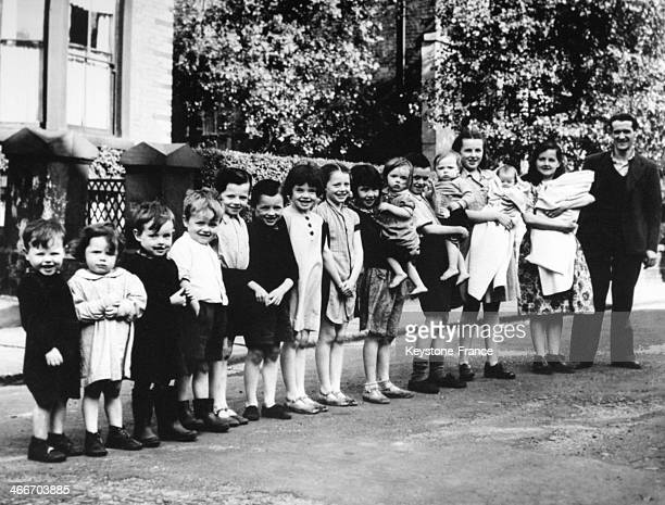 The O'Hare Britain's record family with 16 children under the age of 17 on June 27 1949 in Liverpool United Kingdom
