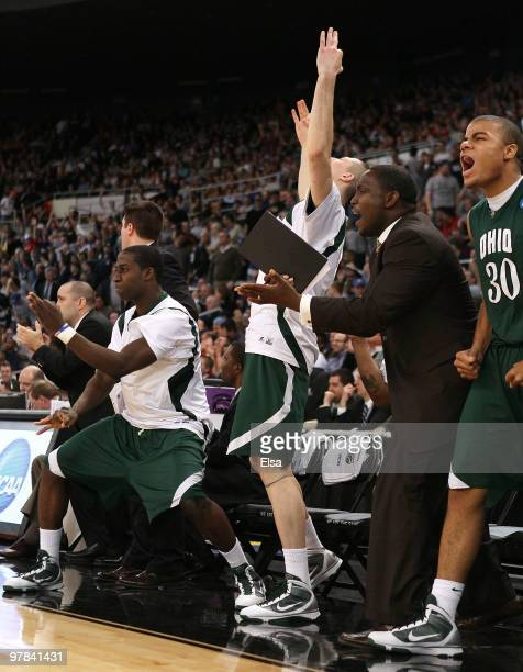 The Ohio Bobcats bench celebrates late in the second half against the Georgetown Hoyas during the first round of the 2010 NCAA men's basketball...