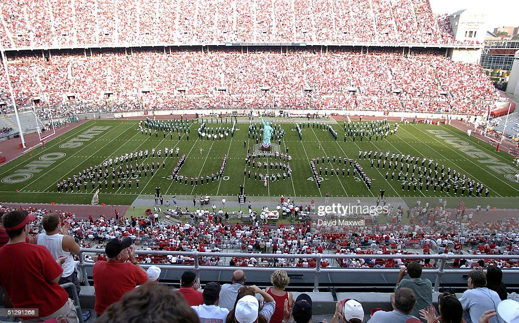 The Ohio State and Marshall marching bands perform a tribute to September 11, 2001 during halftime of the game between the Ohio State Buckeyes andthe Marshall Thundering Herd on September 11, 2004 at Ohio Stadium in Columbus, Ohio. Ohio State defeated Marshall 24-21.