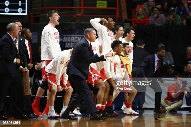 The Ohio State Buckeyes bench reacts during the second half against the Gonzaga Bulldogs in the second round of the 2018 NCAA Men's Basketball...