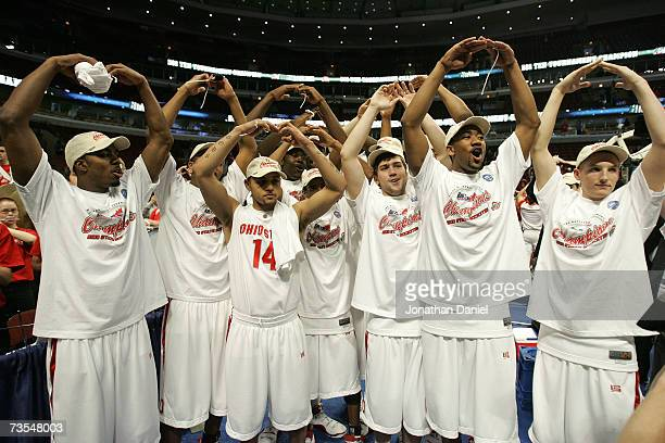 The Ohio State Buckeyes celebrate after their 6649 win against the Wisconsin Badgers during the Final of the Big Ten Men's Basketball Conference...