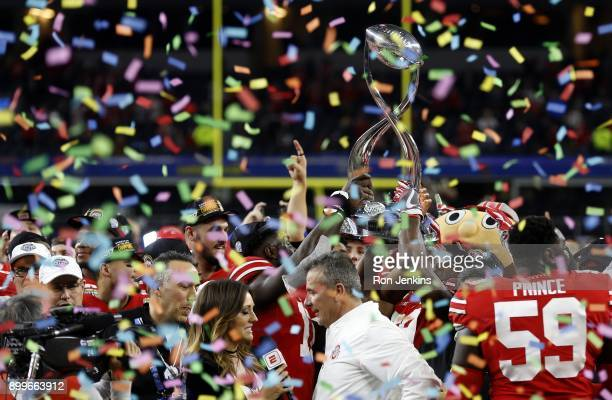 The Ohio State Buckeyes celebrate following the 82nd Goodyear Cotton Bowl Classic between USC and Ohio State at ATT Stadium on December 29 2017 in...