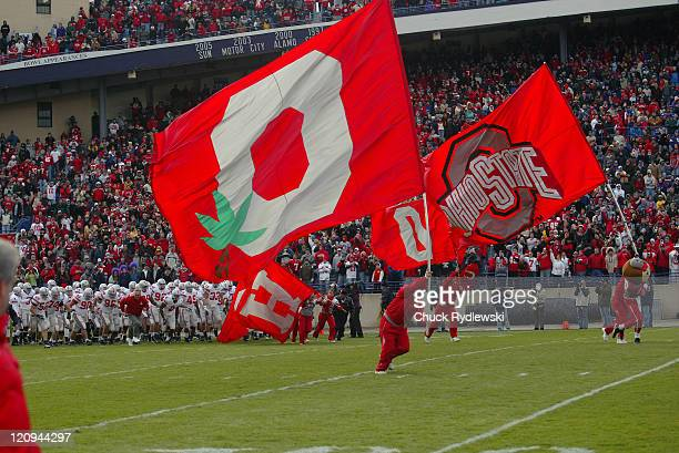 The Ohio State Buckeyes charge onto the field for their game against the Northwestern Wildcats at Ryan Field in Evanston Illinois November 11 2006...