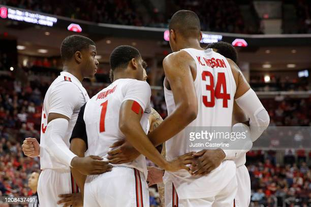 The Ohio State Buckeyes huddle up during after a timeout in the game against the Maryland Terrapins at Value City Arena on February 23 2020 in...