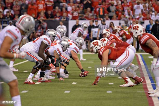 The Ohio State Buckeyes line up across from the Wisconsin Badgers during the Big Ten Championship Game on December 2 at Lucas Oil Stadium in...
