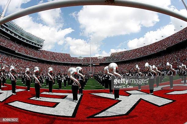 The Ohio State Buckeyes marching band perform before the game against the Ohio Bobcats at Ohio Stadium on September 6 2008 in Columbus Ohio
