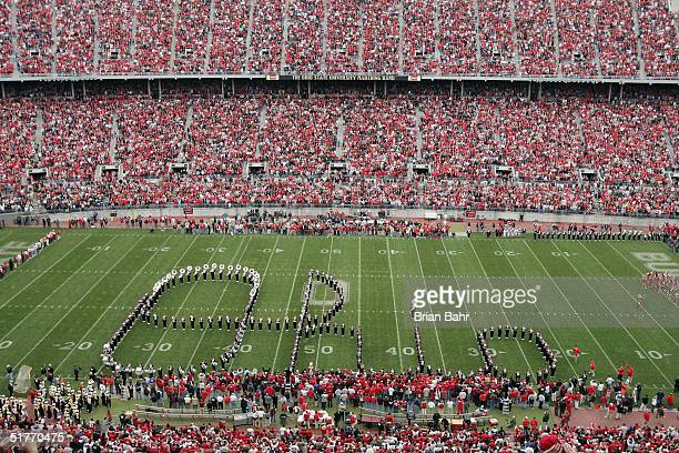 The Ohio State Buckeyes marching band spells out Ohio to the cheers of fans before their game against the Michigan Wolverines on November 20, 2004 at...