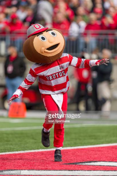 The Ohio State Buckeyes mascot Brutus dances in the end zone in a game between the Ohio State Buckeyes and the Minnesota Golden Gophers on October 13...