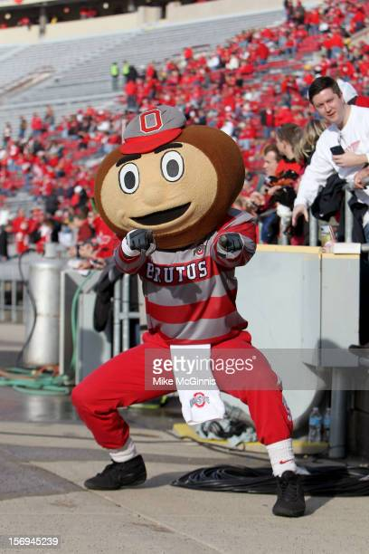 The Ohio State Buckeyes mascot Brutus posses for a picture before the game against the Wisconsin Badgers during the game at Camp Randall Stadium on...